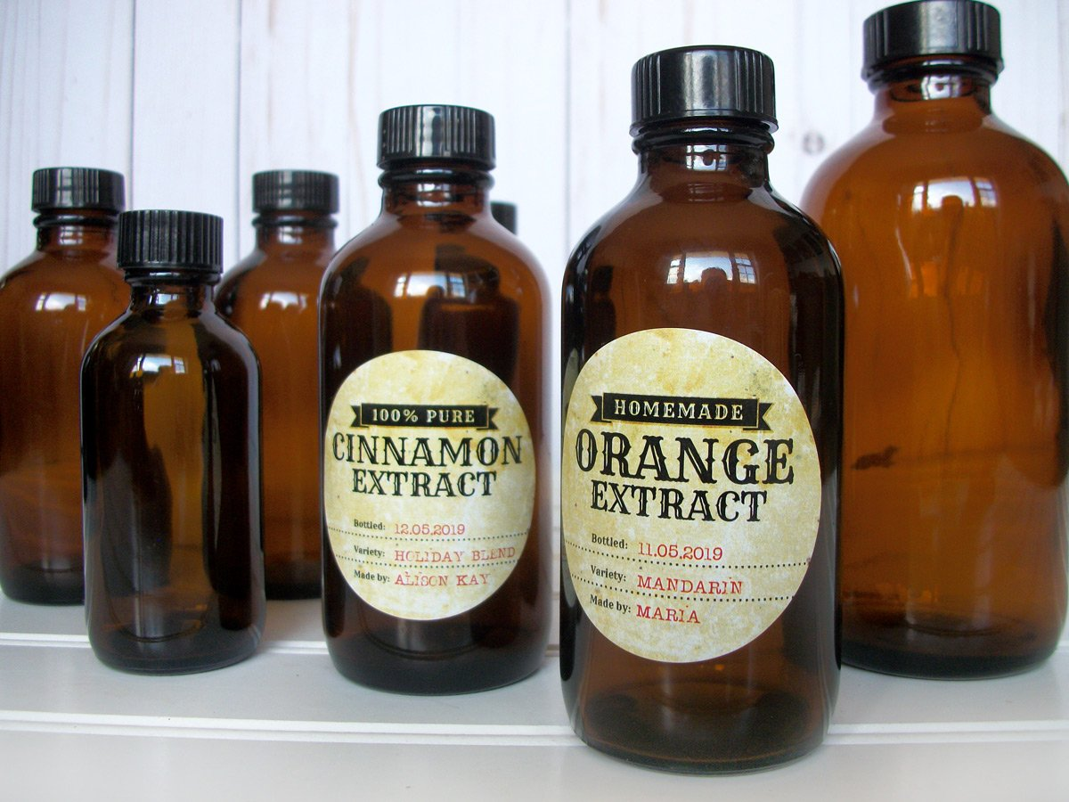 Custom Antique Cinnamon & Orange Extract Bottle Labels | CanningCrafts.com