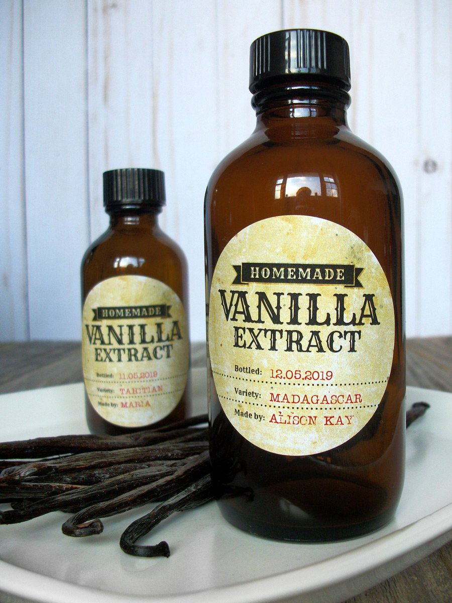 Custom Antique Vanilla Extract Amber Bottle Labels | CanningCrafts.com