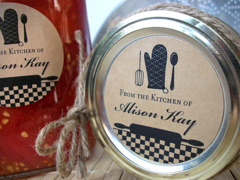 Custom Black Gingham Kitchen Labels | CanningCrafts.com