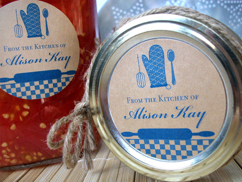 Custom Blue Kraft Kitchen Labels | CanningCrafts.com