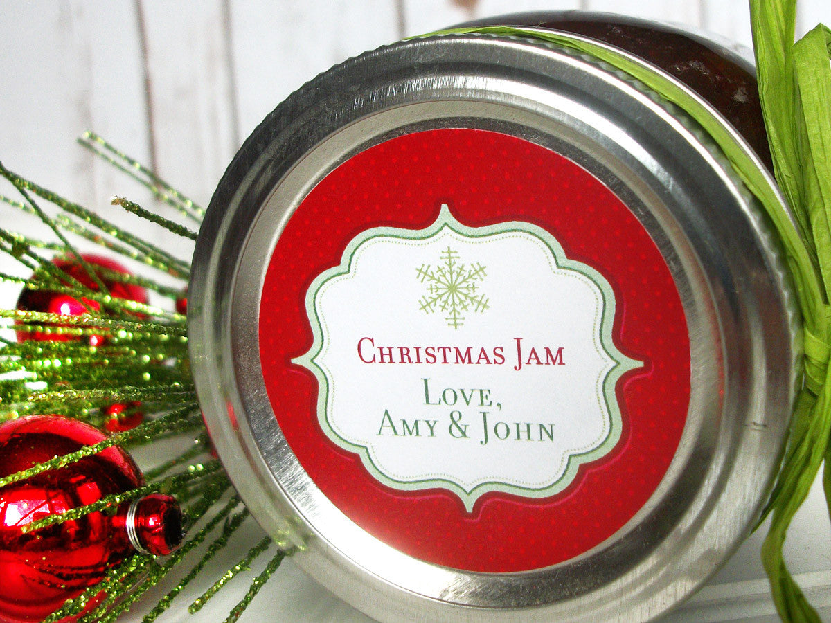Custom Red Christmas Canning Jar Labels | CanningCrafts.com