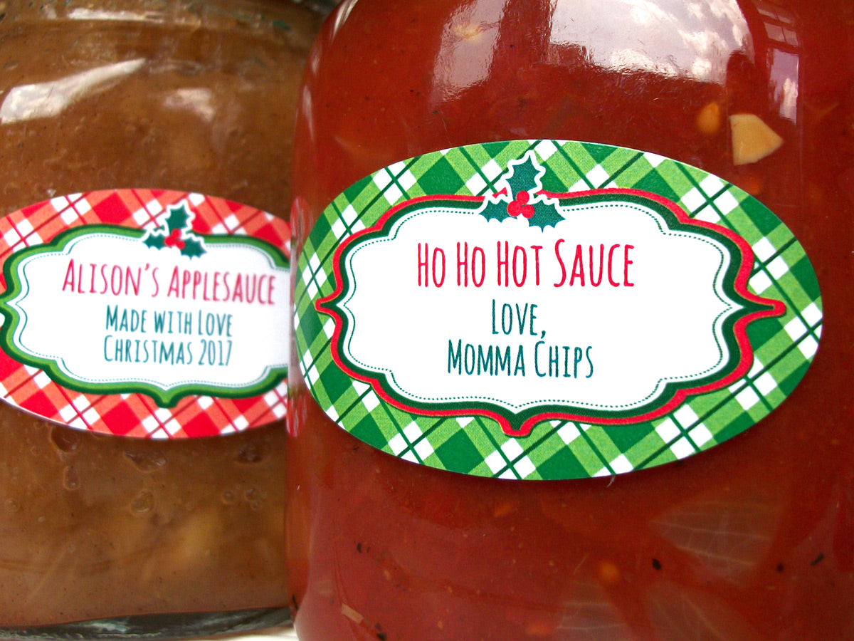 Custom Plaid Red Amp Green Christmas Oval Canning Labels For