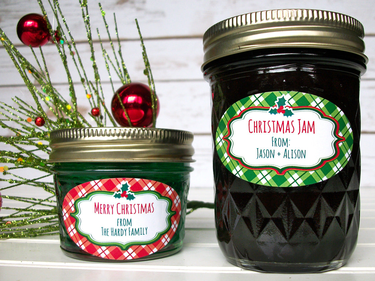 Custom Oval Red & Green Plaid Christmas Canning Labels | CanningCrafts.com