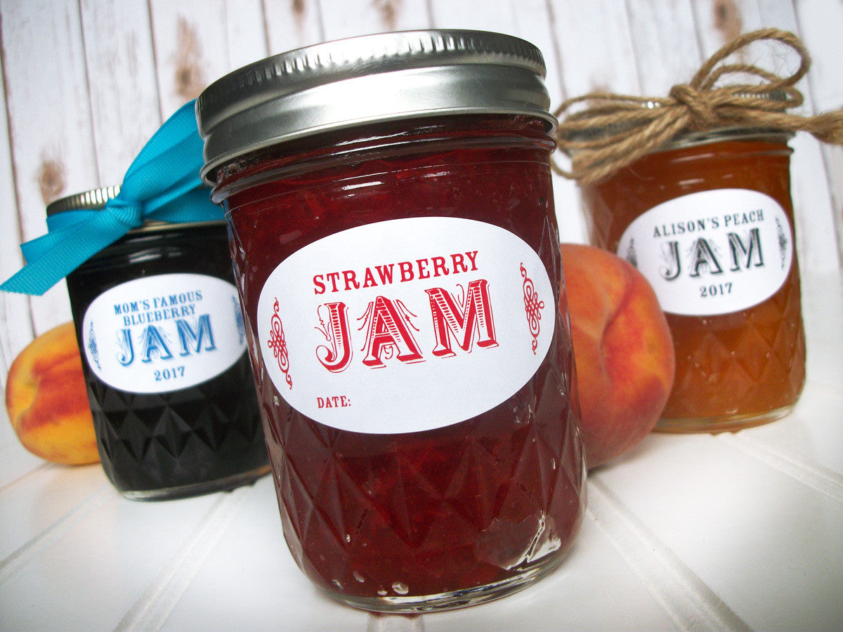 Colorful Custom Oval Canning Labels for quilted canning jars | CanningCrafts.com