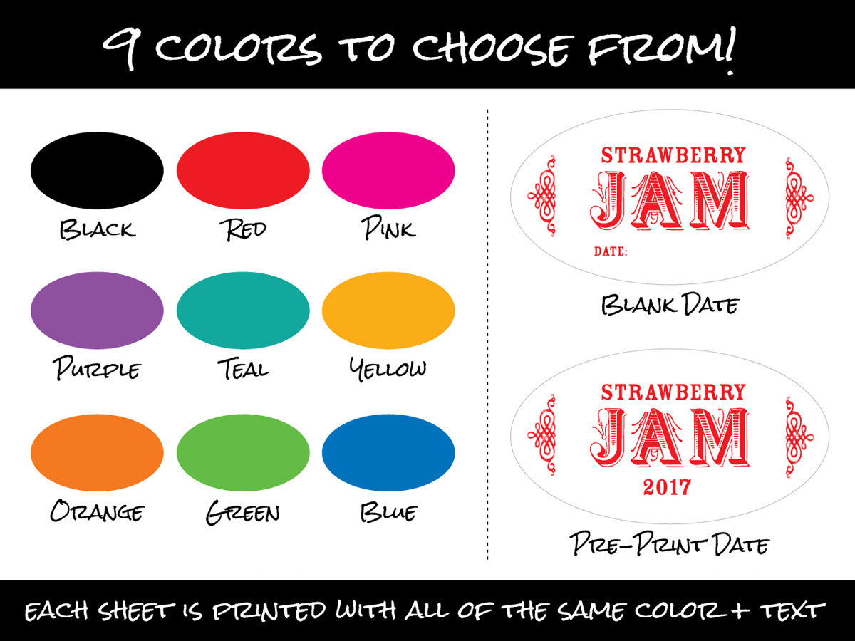 Colorful Custom Oval Canning JarLabels | CanningCrafts.com