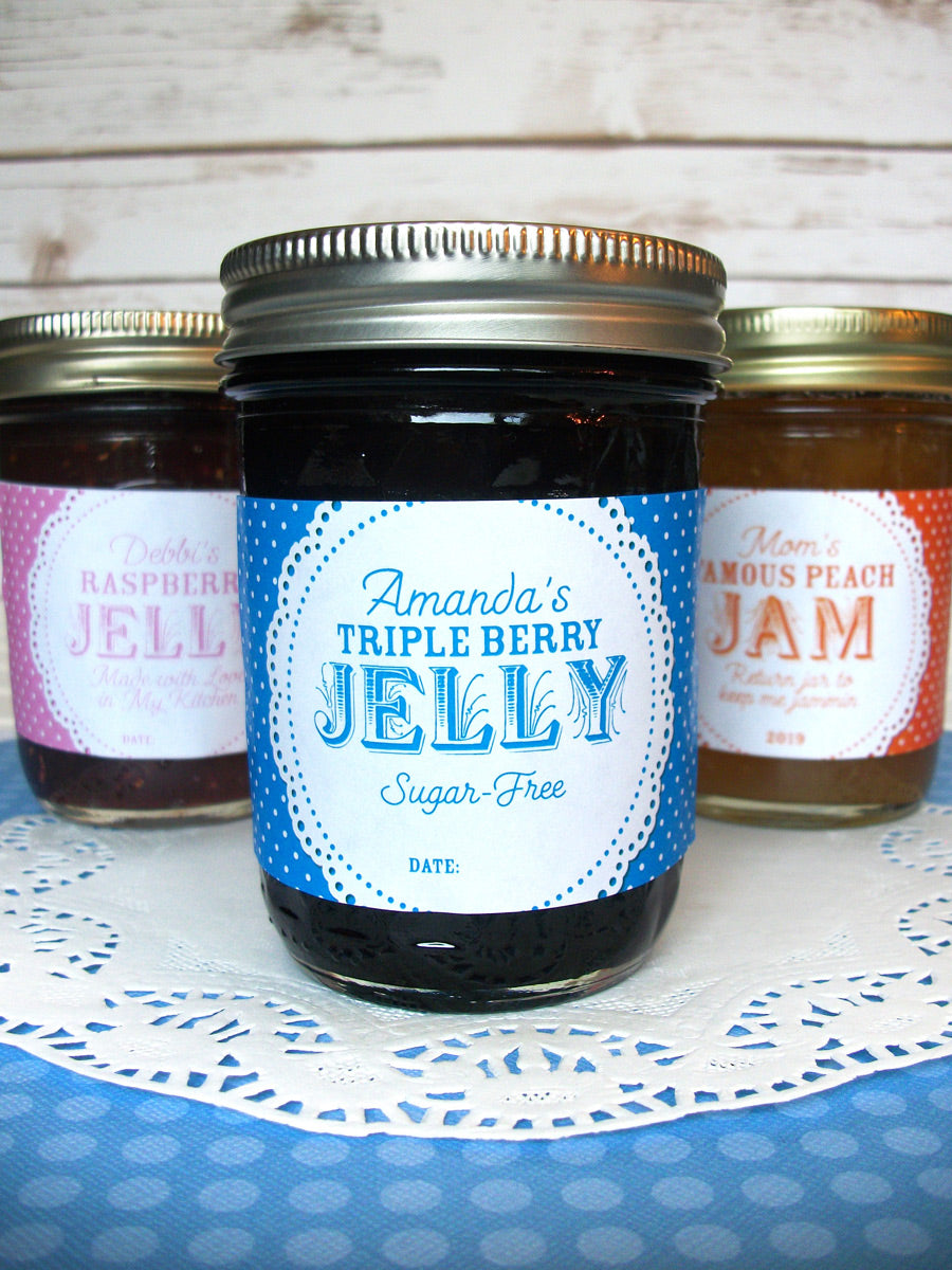 Custom Colorful Doily Rectangle Jam & Jelly Jar Canning Labels | CanningCrafts.com