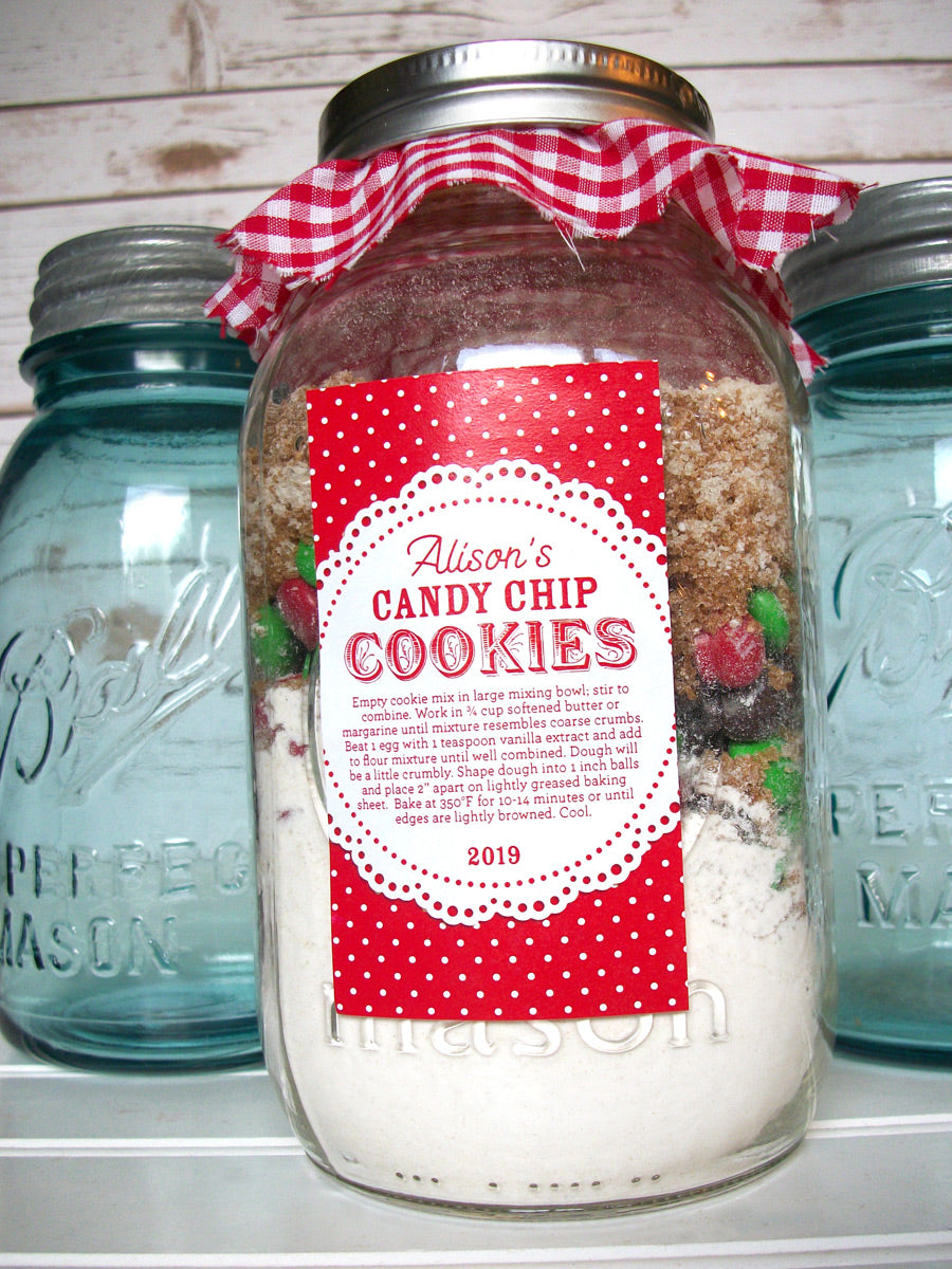 Custom Colorful Doily Rectangle Canning Labels for cookie mason jar gifts | CanningCrafts.com