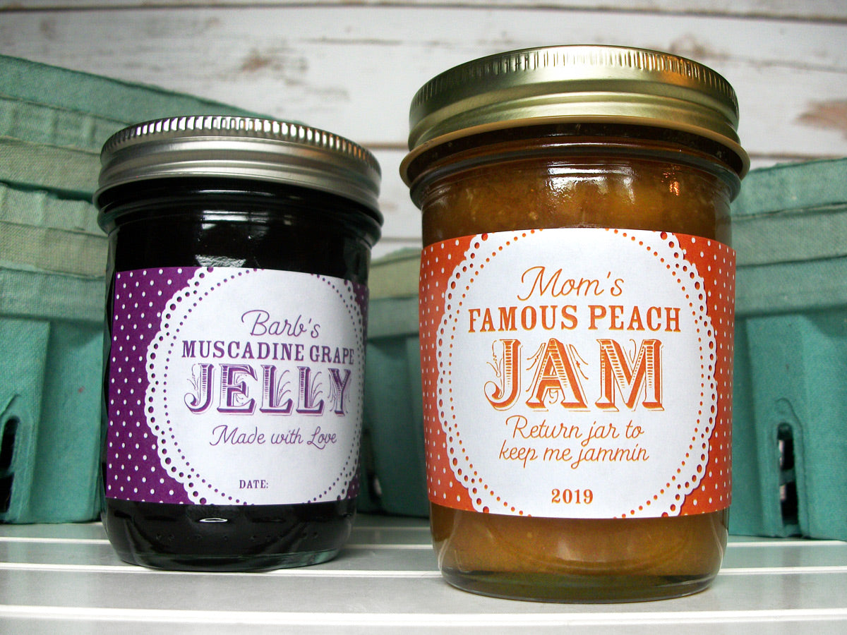 Custom Colorful Doily Rectangle Jam & Jelly Jar Labels | CanningCrafts.com