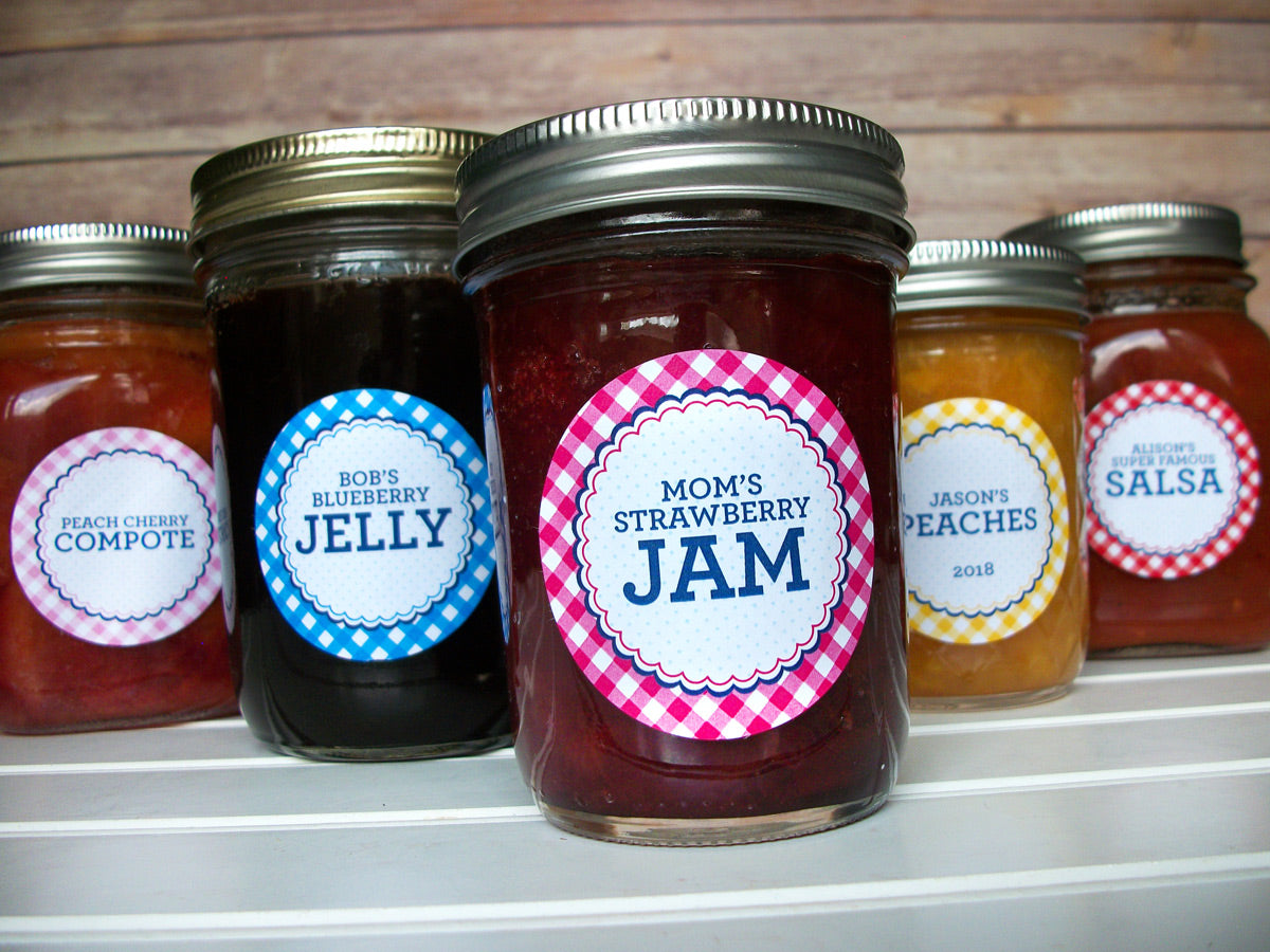 Custom Farmer's Market Gingham Canning Jar Labels | CanningCrafts.com