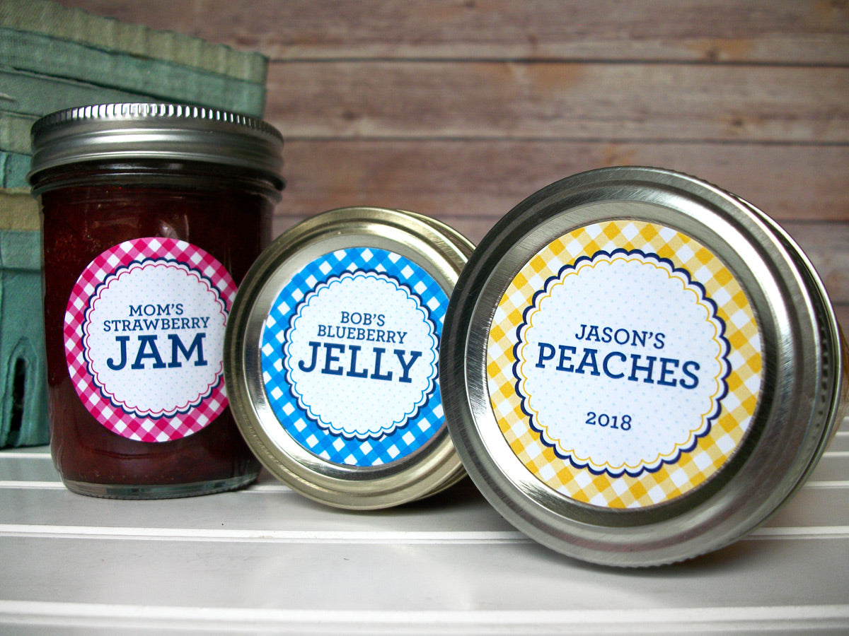 Custom Farmer's Market Gingham Canning Labels | CanningCrafts.com