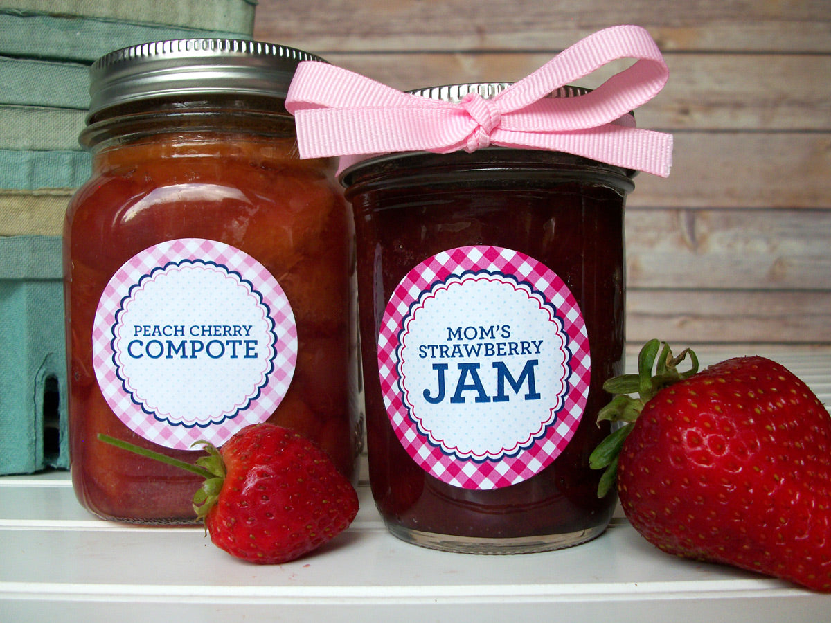 Custom Farmer's Market Gingham Jam Jar Canning Labels | CanningCrafts.com