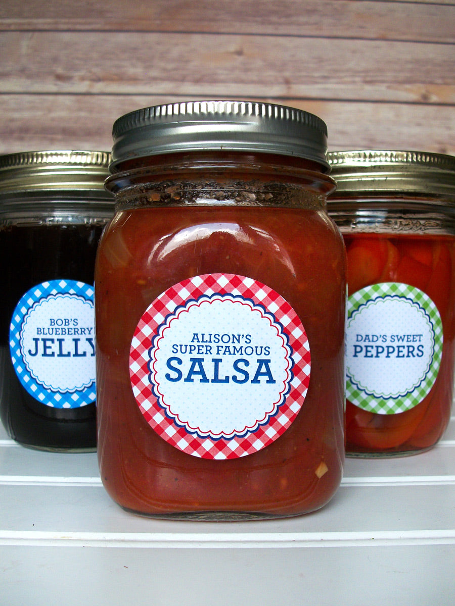 Custom Farmer's Market Red Gingham Canning Labels | CanningCrafts.com