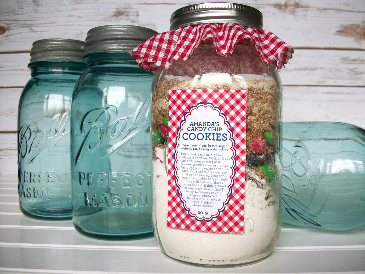 Custom Farmer's Market Rectangle Canning Labels for cookie mason jar kits | CanningCrafts.com