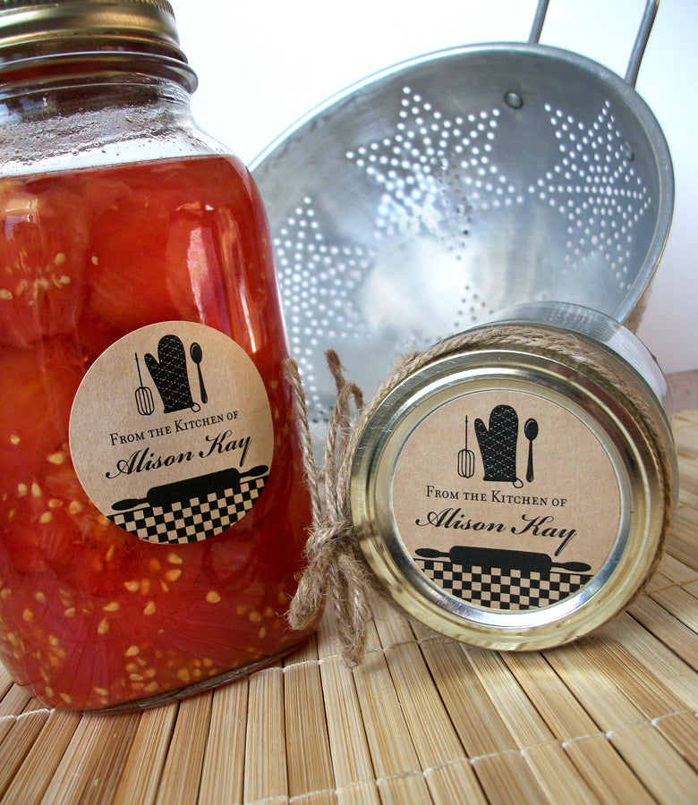Custom Black Gingham Kitchen Canning Jar Labels | CanningCrafts.com