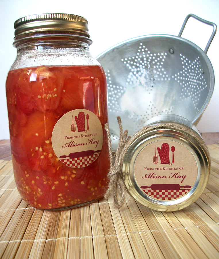 Custom Red Kraft Kitchen Canning Labels | CanningCrafts.com