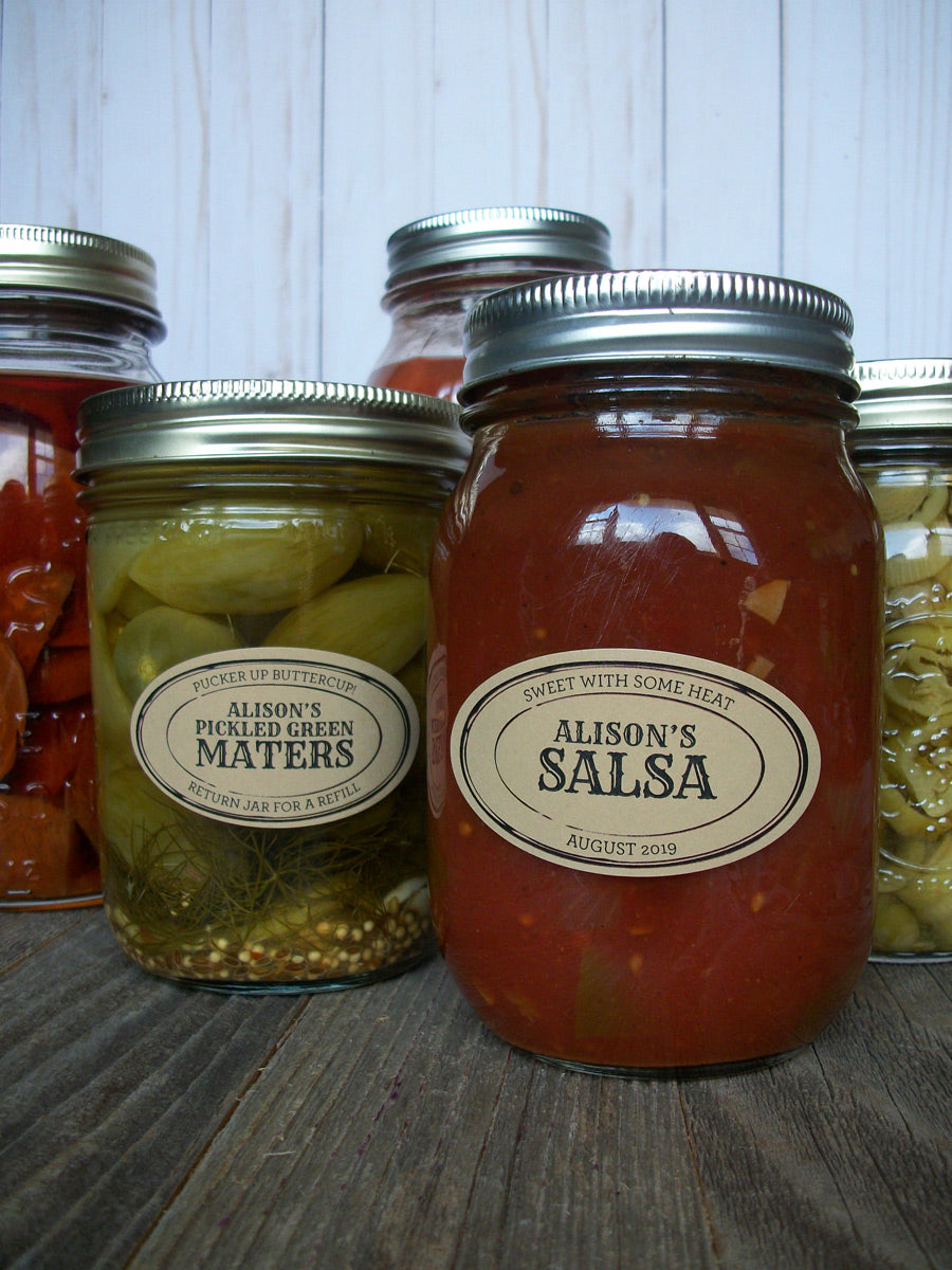 Custom Kraft Apothecary Oval Mason Canning Jar Labels | CanningCrafts.com