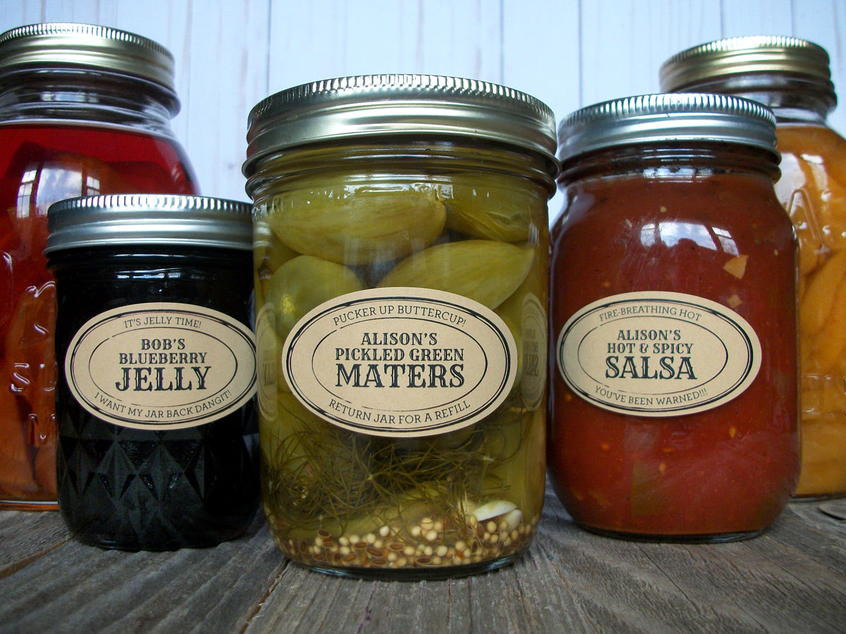 Custom Kraft Apothecary Oval Canning Jar Labels | CanningCrafts.com