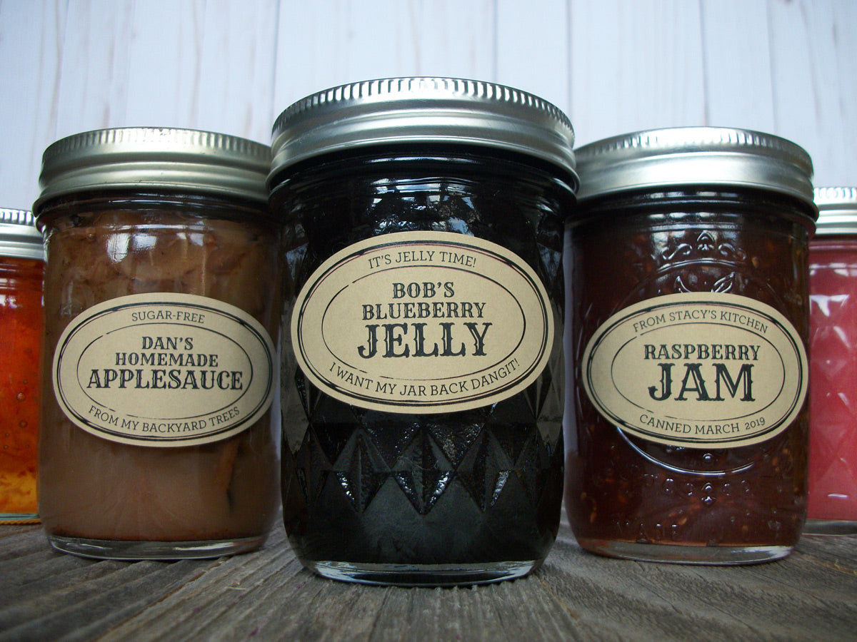 Custom Kraft Apothecary Oval Jam & Jelly Jar Labels | CanningCrafts.com