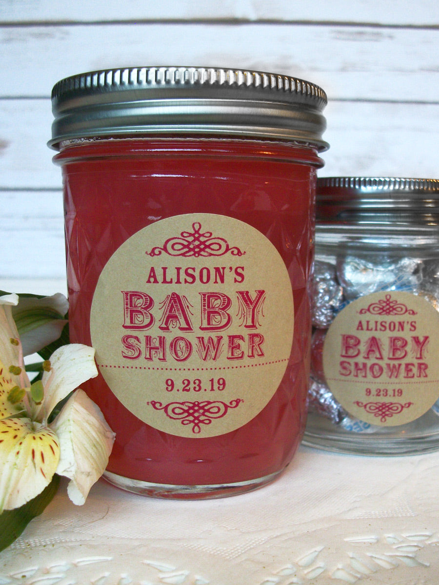 Custom Kraft Baby Girl Shower Favor Canning Labels | CanningCrafts.com