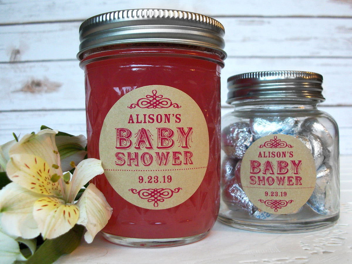 Custom Kraft Baby Girl Shower Canning Jar Favor Labels | CanningCrafts.com