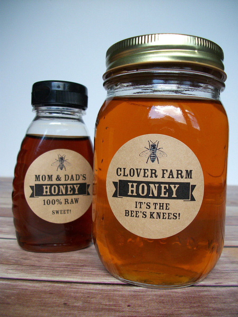 custom kraft honey bottle & jar labels | CanningCrafts.com