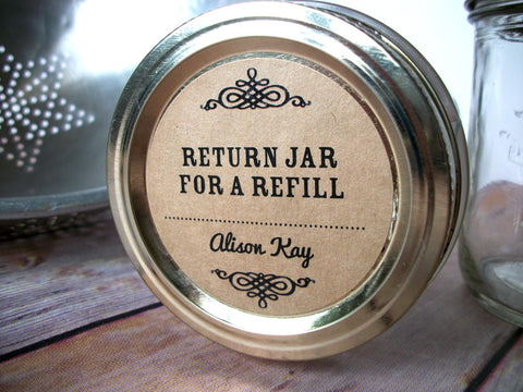 Custom Kraft Return Jar for a Refill Canning Labels | CanningCrafts.com