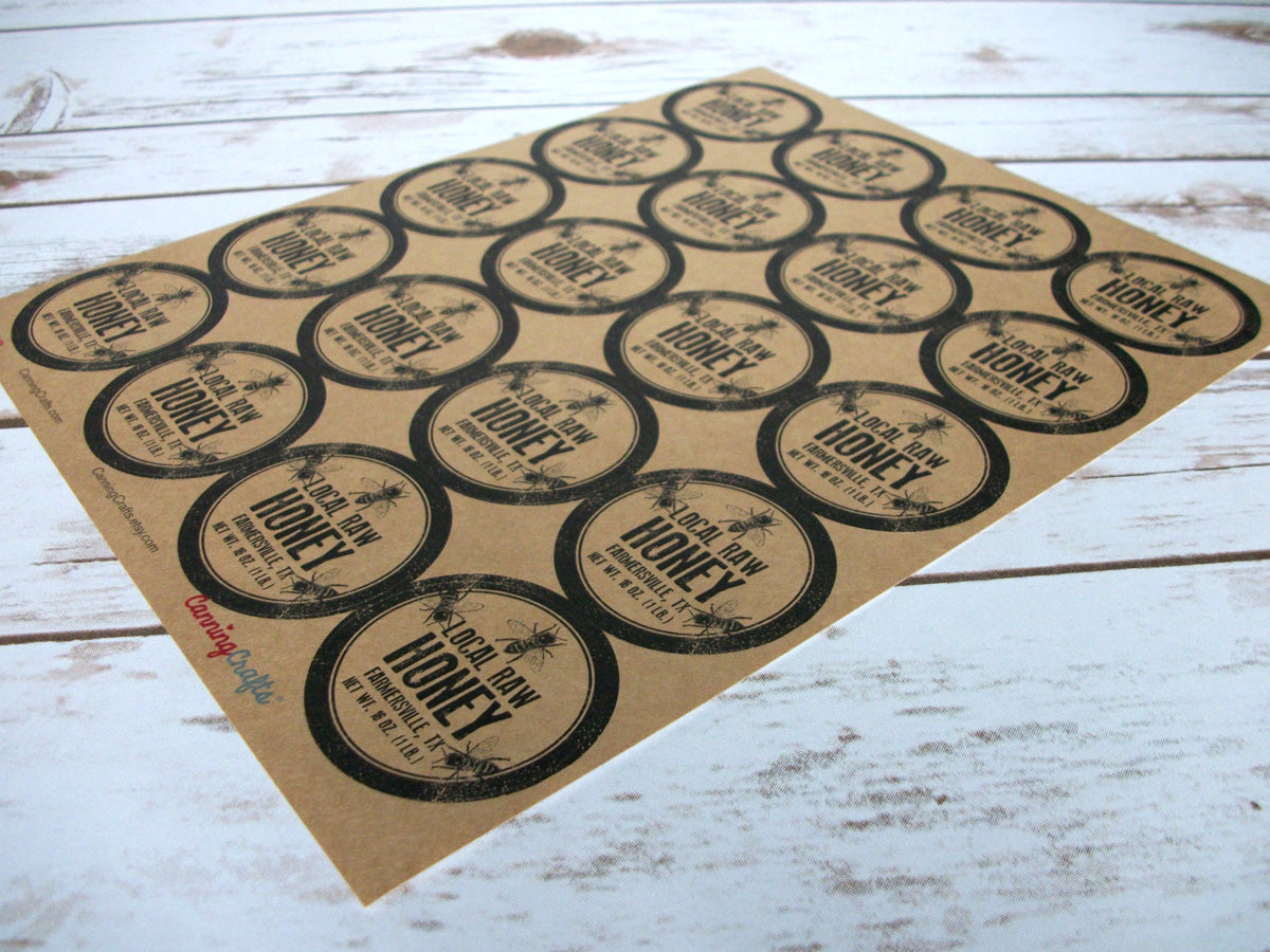 Kraft Rubber Stamp Custom Honey Label | CanningCrafts.com