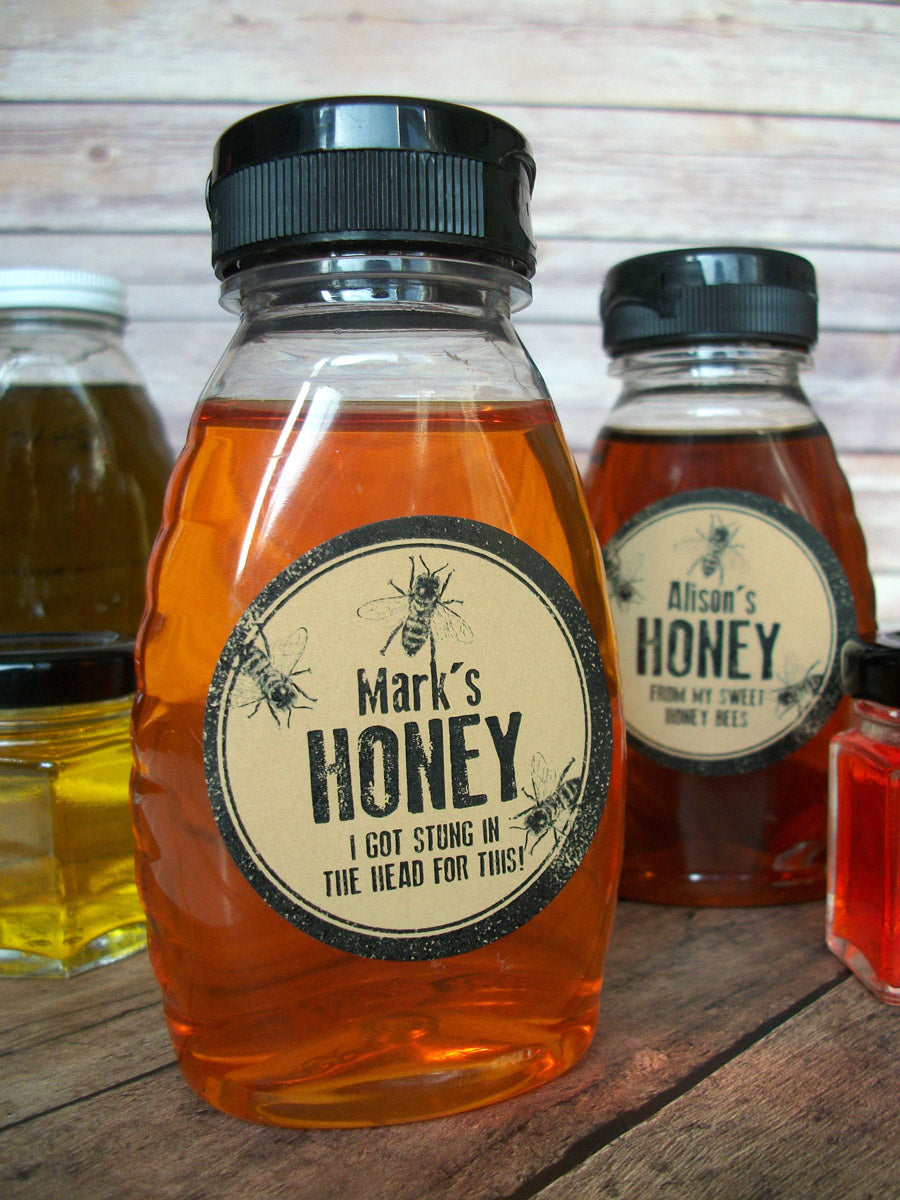 Kraft Rubber Stamp Custom Honey Bottle Label | CanningCrafts.com