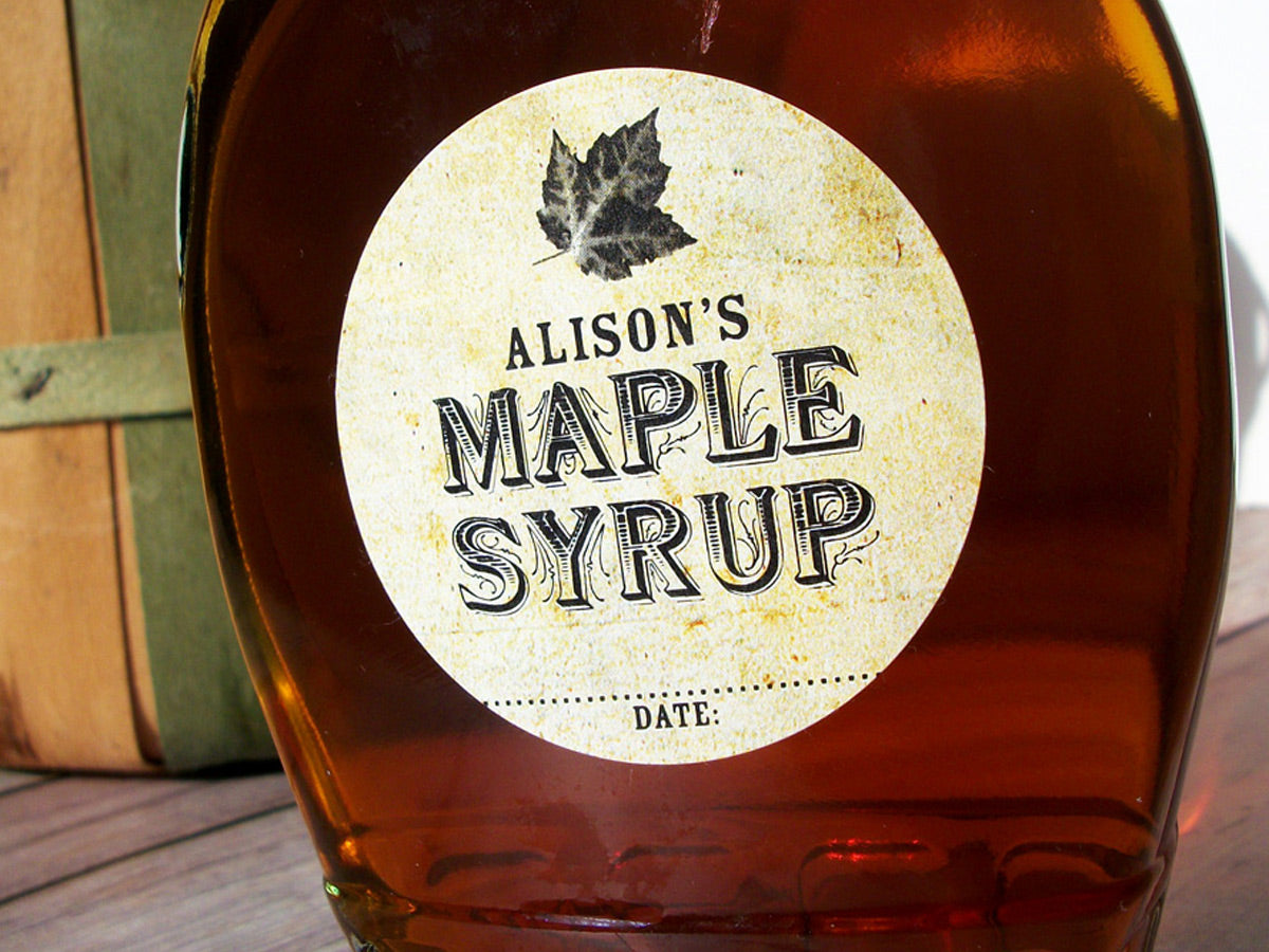 Custom Vintage Maple Syrup Bottle Labels For Backyard Home