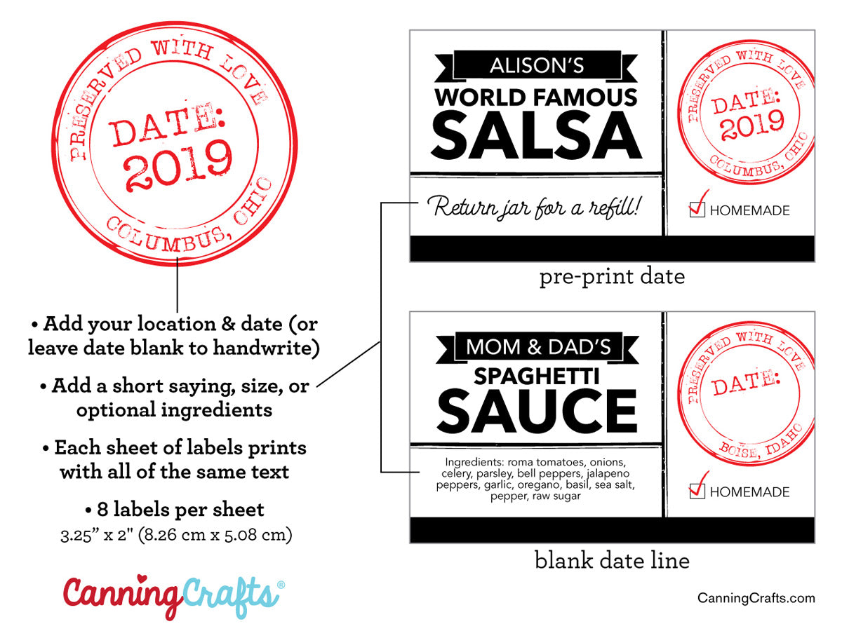 Custom Modern Black & White Rectangle Canning Labels | CanningCrafts.com