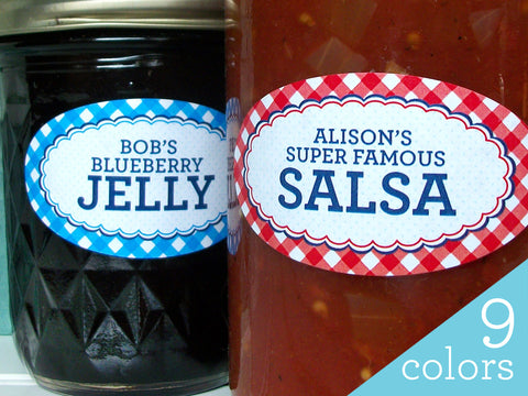 Custom Oval Farmer's Market Gingham Canning Labels | CanningCrafts.com