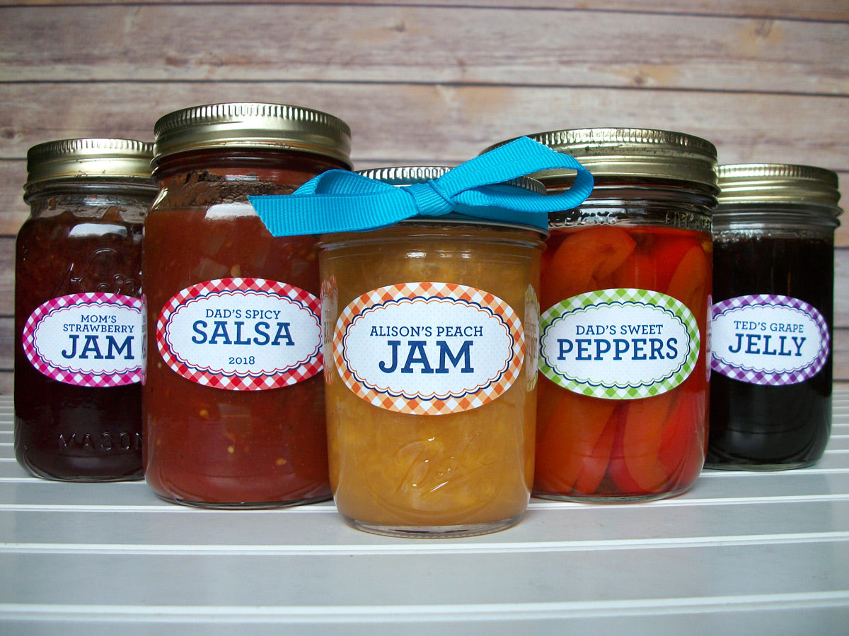Custom Oval Farmer's Market Gingham Canning Jar Labels | CanningCrafts.com
