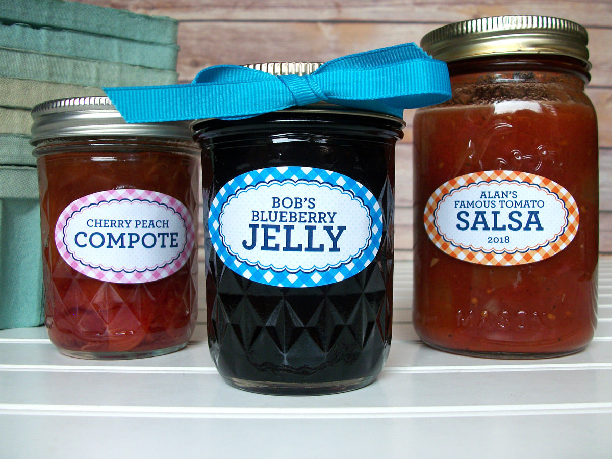 Custom Oval Farmer's Market Gingham Canning Jam Jar Labels | CanningCrafts.com