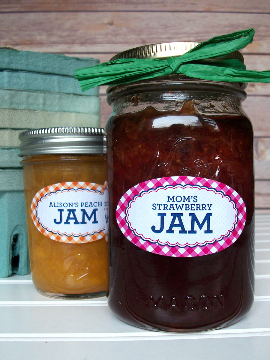 Custom Oval Farmer's Market Gingham Canning Jam & Jelly Jar Labels | CanningCrafts.com