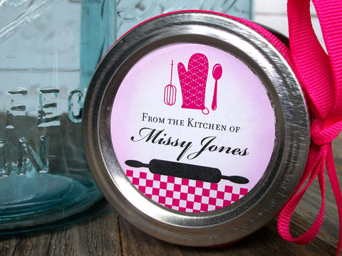 custom hot pink & black Kitchen Labels | CanningCrafts.com