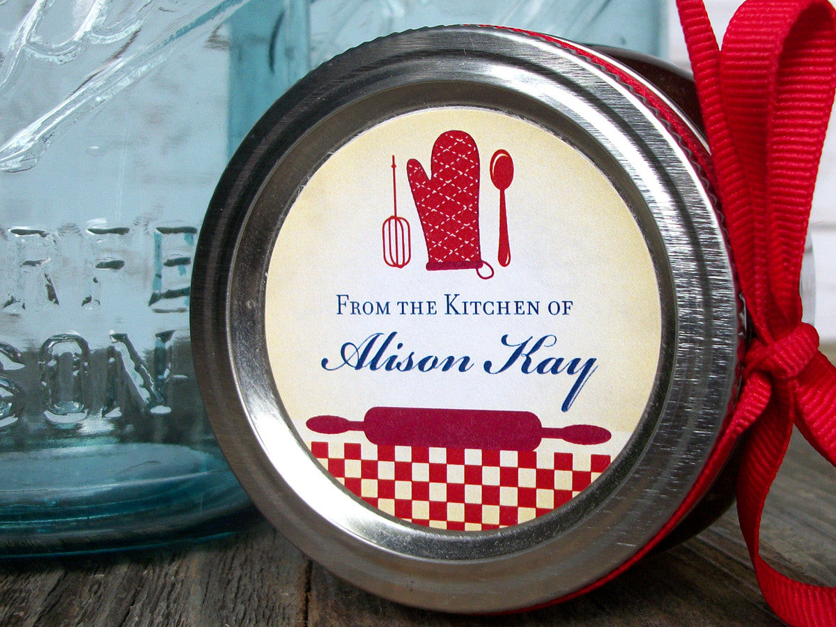 custom red Kitchen Labels