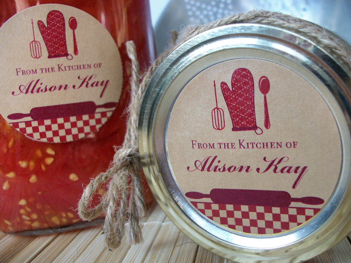 Custom Red Kraft Kitchen Labels | CanningCrafts.com