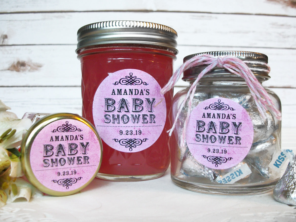 custom vintage pink baby girl shower favor labels | CanningCrafts.com