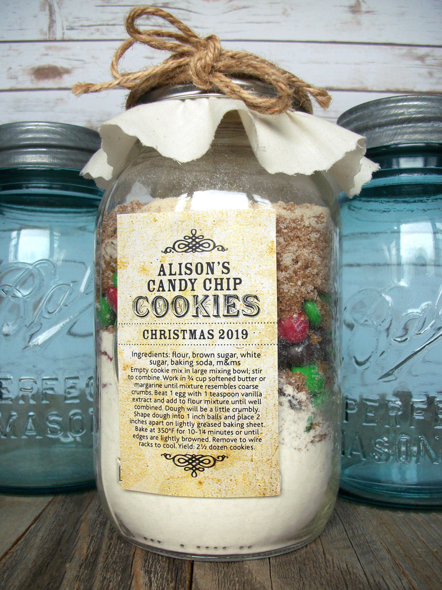 Custom Vintage Rectangle Canning Labels for cookie mason jar kits | CanningCrafts.com