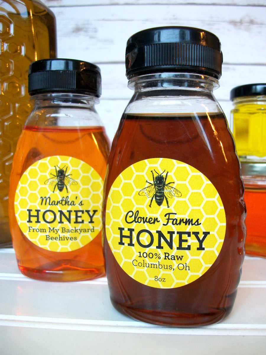 custom yellow & black honey label for backyard beekeepers | CanningCrafts.com