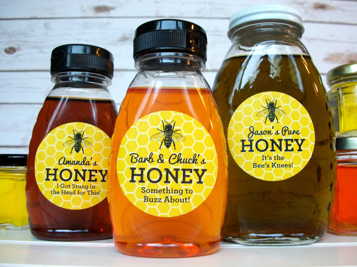 custom yellow & black honey bottle labels for backyard beekeepers | CanningCrafts.com