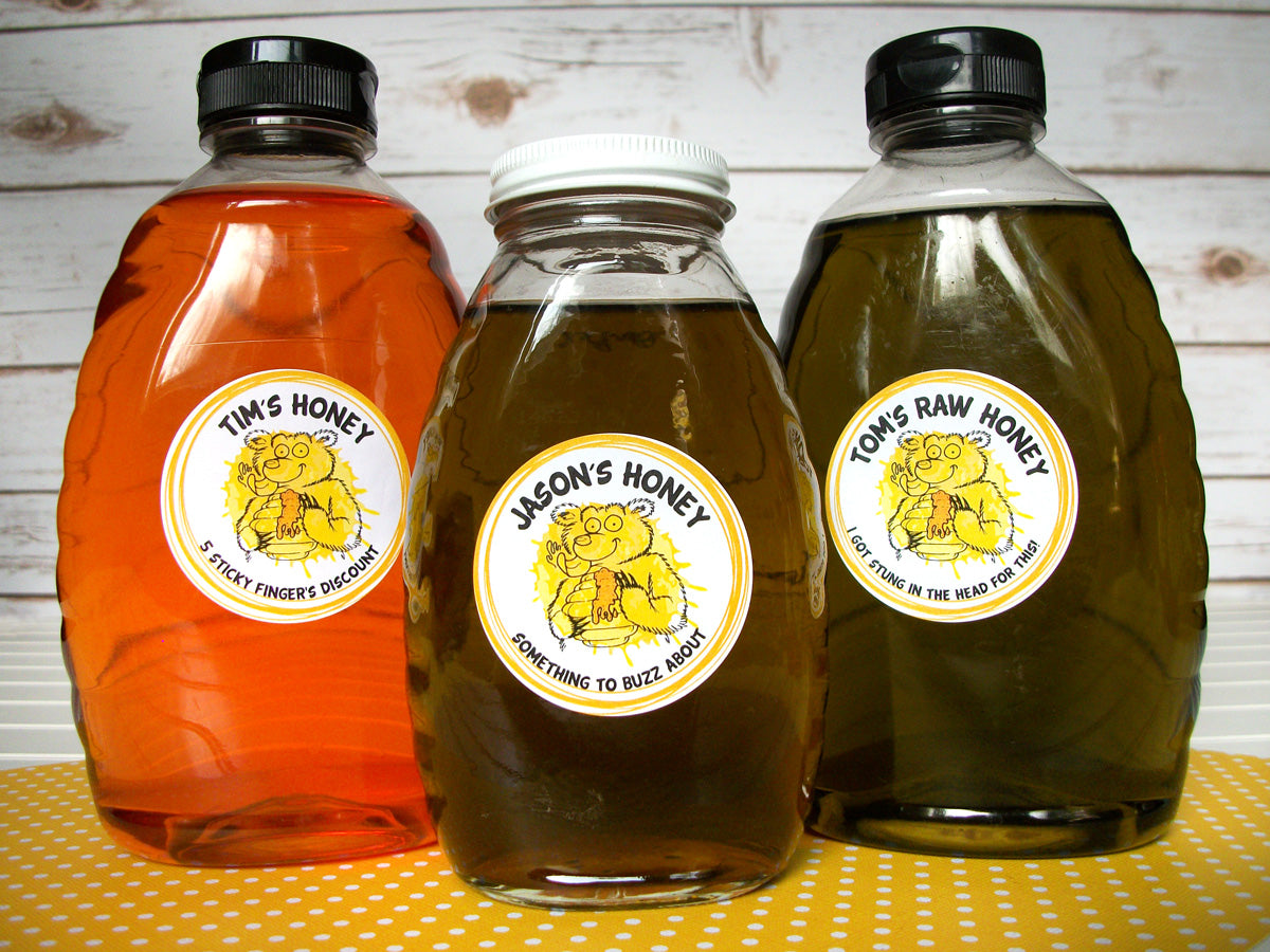 Custom Cute Bear honey bottle labels | CanningCrafts.com