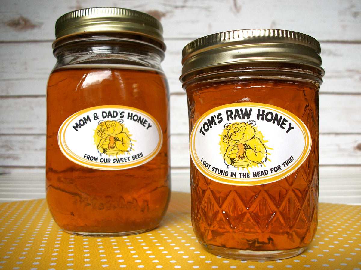 Custom Cute Bear honey jar oval labels | CanningCrafts.com