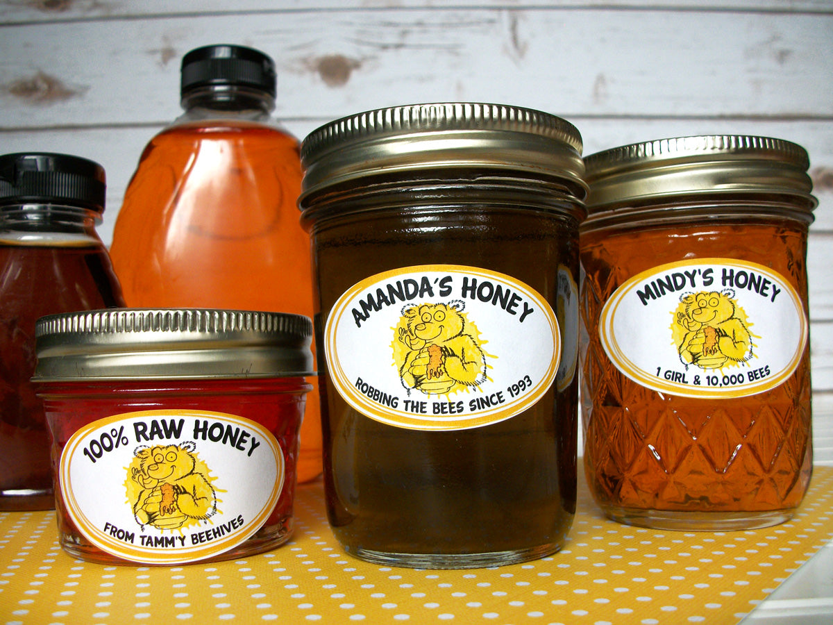 Custom Cute Bear honey oval jar labels | CanningCrafts.com