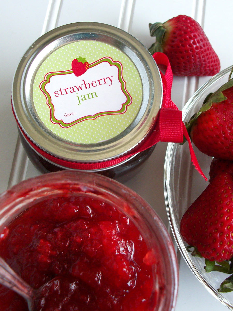 Strawberry Jam Mason Canning Jar Labels | CanningCrafts.com