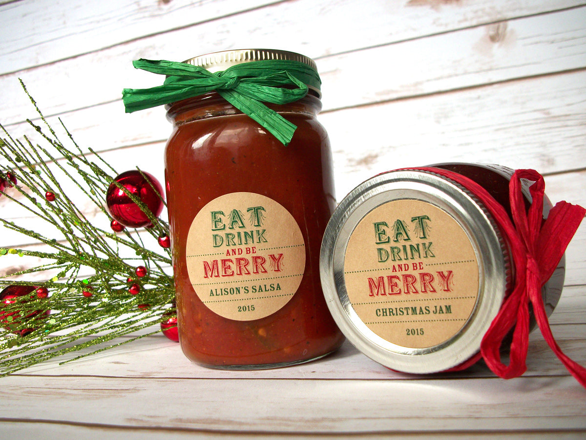 Eat Drink & Be Merry Christmas Canning Jar Labels | CanningCrafts.com