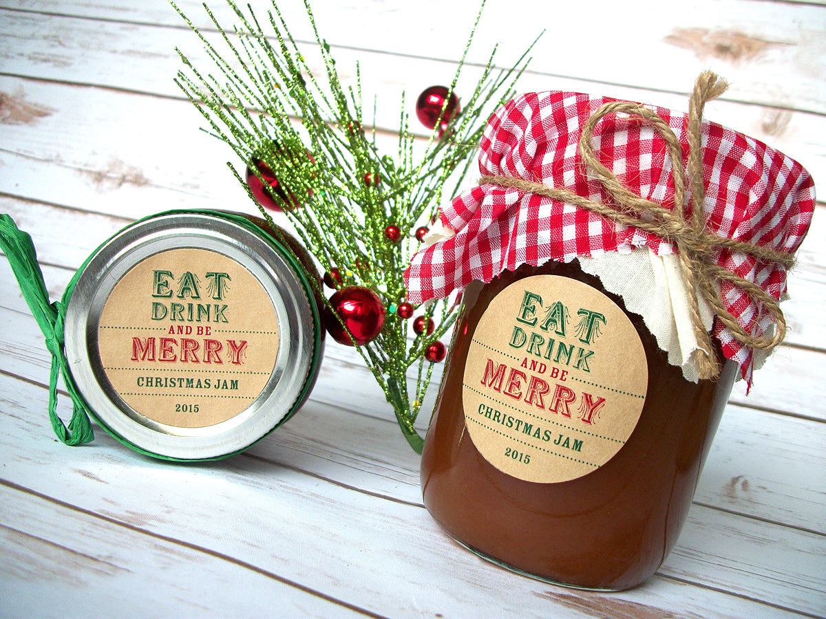 Eat Drink & Be Merry Christmas Canning Labels | CanningCrafts.com