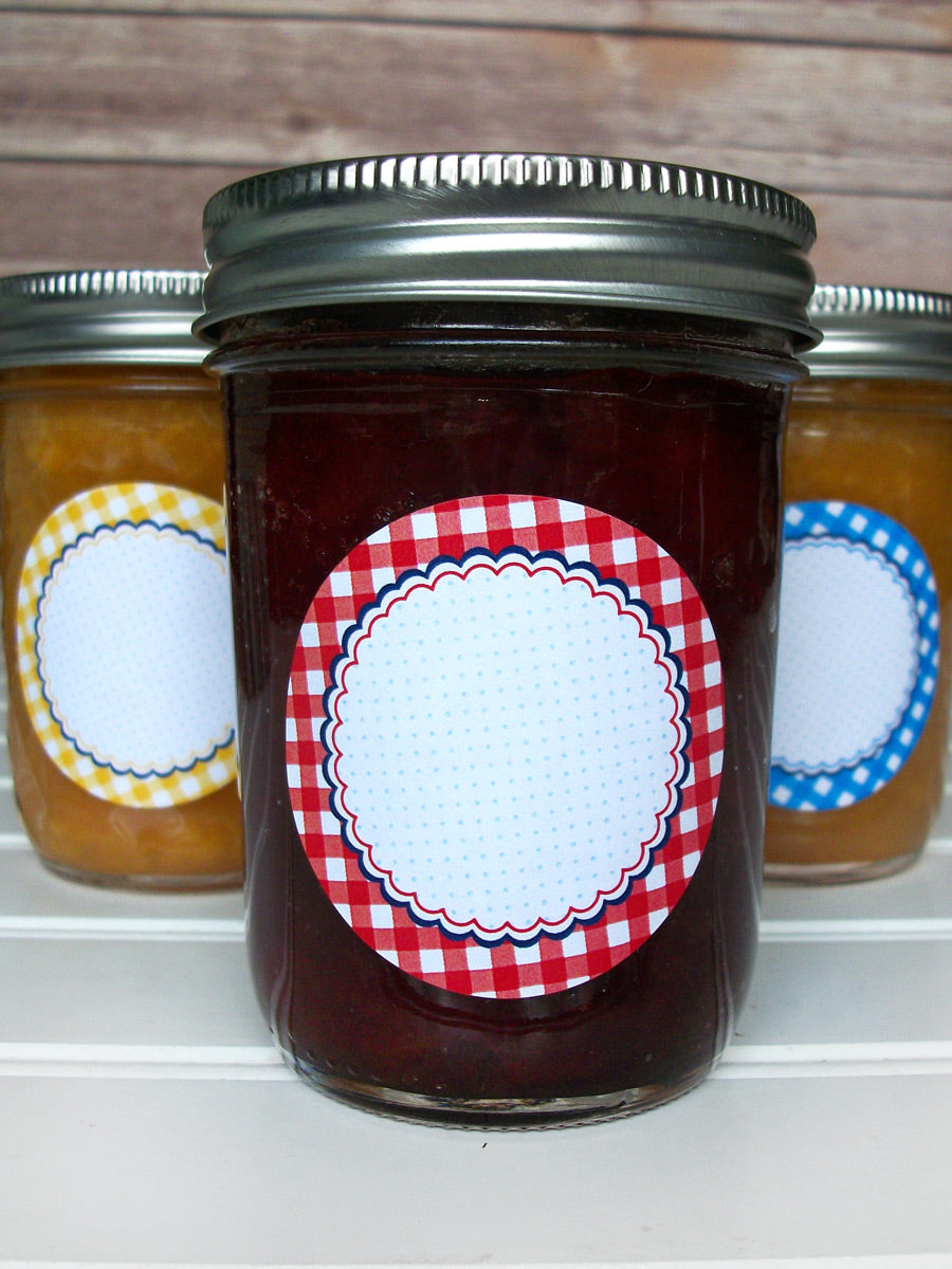 Farmer's Market Gingham Canning Labels | CanningCrafts.com