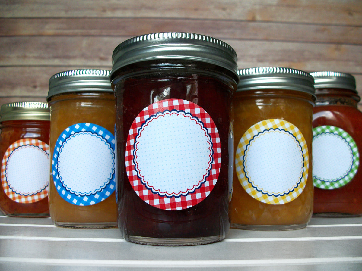 Farmer's Market Gingham Canning Jar Labels | CanningCrafts.com