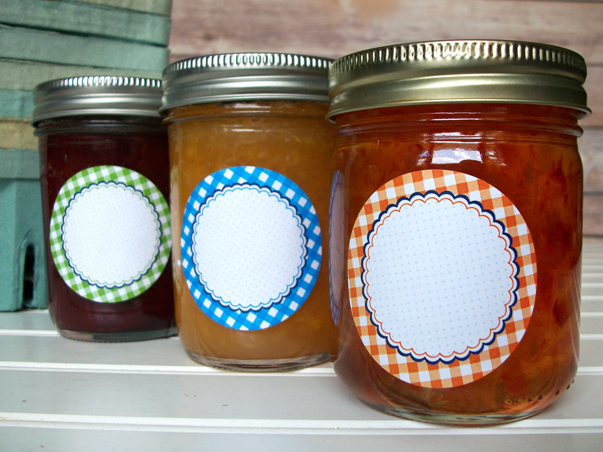 Farmer's Market Gingham Jam Jar Canning Labels | CanningCrafts.com